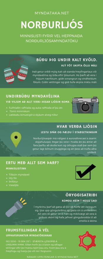 Upplýsingablað um það sem þarf að hafa í huga fyrir norðurljósamyndatöku.